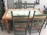 Hand painted and signed ed,Country style table and six chair