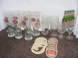 Set Of 7 New Stella Artois Pint Glasses Plus 4 Different Stella Glasses, 12 Drip Mats & 3 Adverts.