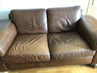 2 x Natuzzi brown leather Sofas