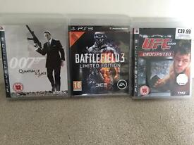 3 PS3 games including UFC Battlefield James Bond