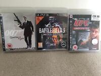 3 PS3 games including UFC Battlefield James Bond