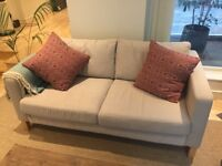 Ikea 2 Seater Karlstad sofa with Beige cover