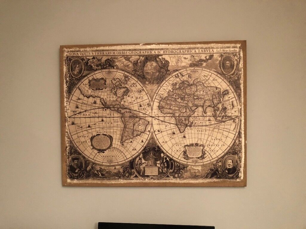 Linen world map wall canvas in norwich norfolk gumtree linen world map wall canvas gumiabroncs Choice Image