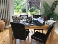 Dining table and 5 leather chairs