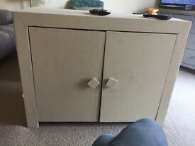 Solid wood chest and coffee table, was originally dark wood, now painted chalk cream. Can be sanded