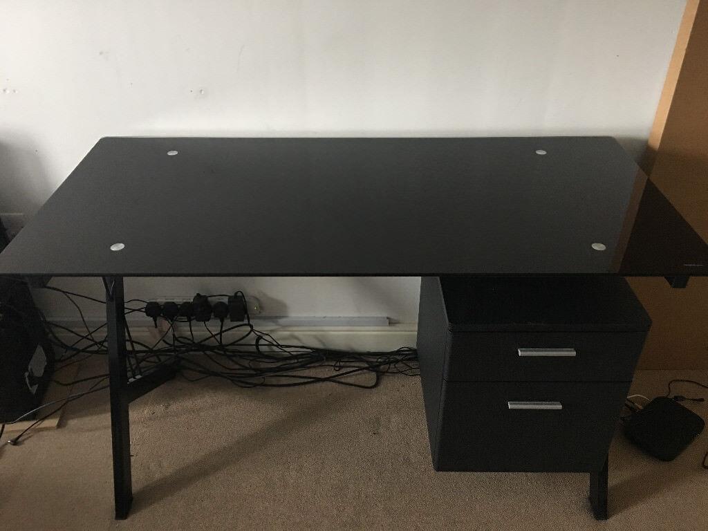 Piranha Metal Black Tempered Glass Desk Still Available