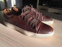 Luxurious Lanvin mens brown leather sneakers, 43/uk8, RRP £420