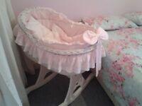 mj mark bianca due pink rocker whicker baby crib