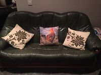 3 piece green leather suite with wooden frame