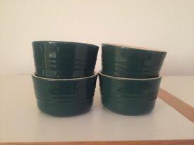 Set of 4 x New Le Creuset Ramekin Individual Souffle Casserole Dish Round Dark Green