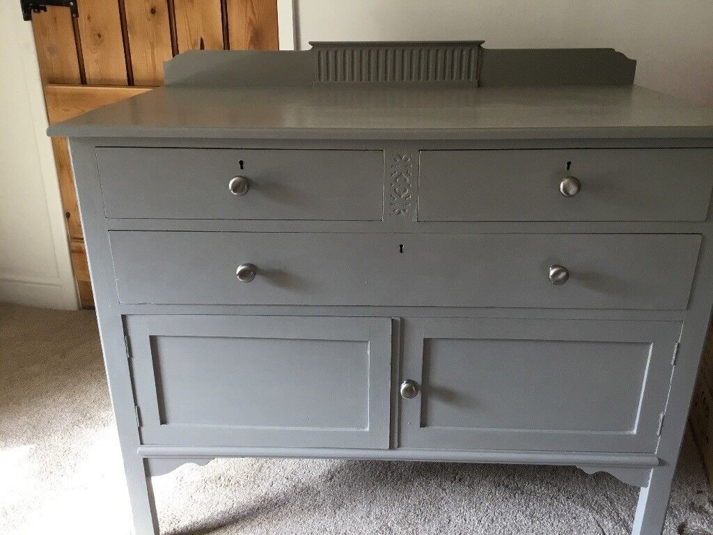 Old Shabby Chic Sideboard Drawers Painted In Laura Ashley Pale French Grey Furniture Paint