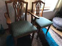Set of 6 aged Pine dining chairs
