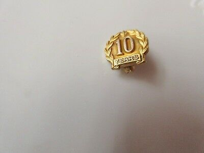 VINTAGE 14K GOLD 10 YEAR SERVICE LAPEL PIN