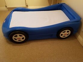 Little Tikes blue racing car toddler bed