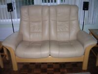 Ekornes Stressless two seater reclining leather sofa
