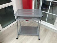 Silver Desk with Sliding Keyboard Tray