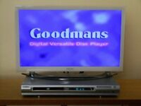 GOODMAN DVD PLAYER WITH REMOTE, MANUAL AND LEADS in Good Working Order.