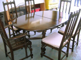 Collectable Ercol Extending Dining Table 2 Carvers & 4 Chairs VGC (WH_3291)