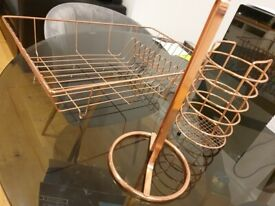 Rose gold dish drainer, utensils holder, kitchen towel stand