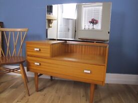 Vintage Retro 1960's Teak Dressing Table Chest of Drawers Danish Style 1960s
