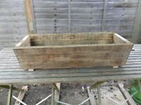 Large handmade Rustic wooden trough Planter