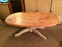 Large solid pine and cream coffee table