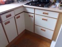 Part kitchen unit - 5 cupboards with one carousel , 4 drawers and sink