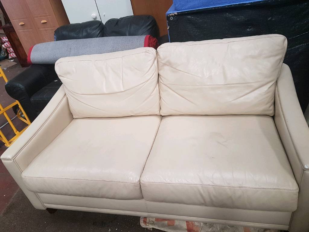 Cream colour 2 seater leather sofa for sale good clean conditions