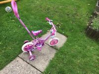 Girls 10 inch bike with parent handle