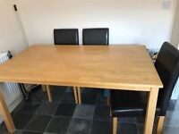 Solid oak effect 6 seater dining table (chairs not included)