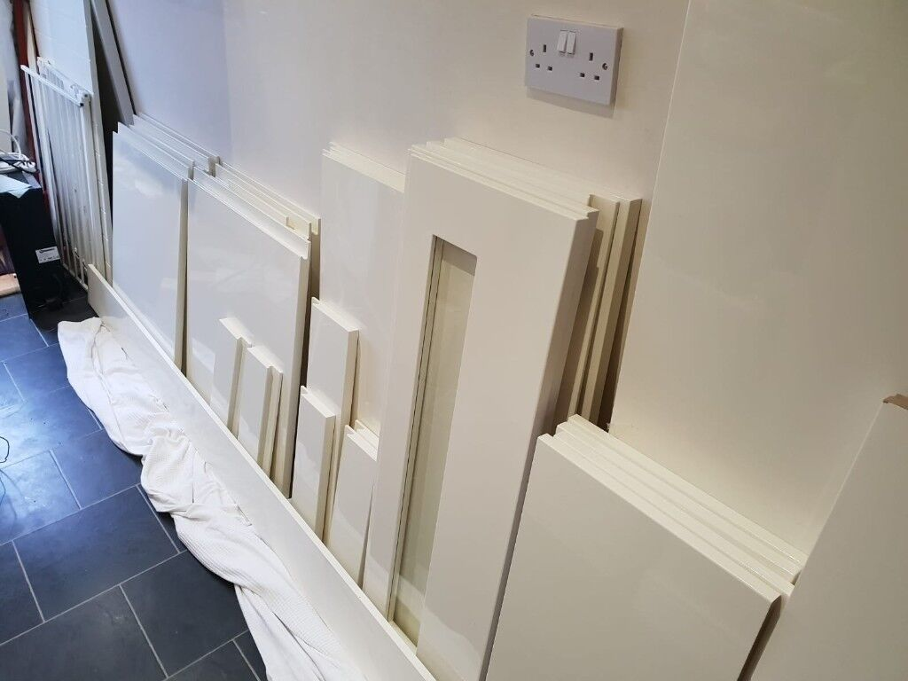 Ivory Gloss Kitchen Doors & Drawer Fronts, Kick Boards, Side Panels ...