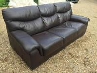 3 SEATEE BROWN LEATHER SOFA, FREE DELIVERY