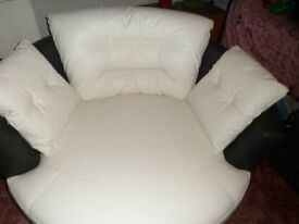 Skyline Leather Large Rotating Swivel Chair AND Footstool, Total Value £1597!!!