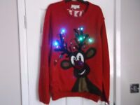 MENS 3XL LIGHT UP RUDOLPH XMAS JUMPER