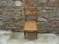old chair with woven seat