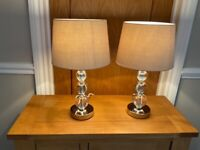 2 x LAURA ASHLEY CRYSTAL GLASS LAMPS + SHADES