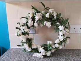 White artificial flower wicker reef £8
