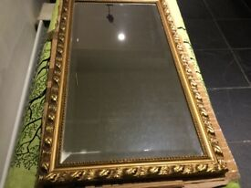 Mirror in Gold frame.