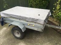 """Larger Noval tipping trailer + cover (5ftx3ft6"""")"""