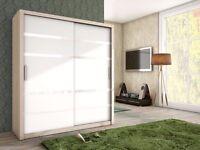 Brand NEW 2 Sliding Door Wardrobe White Black Oak With Glass Strips