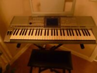 Yamaha PSR 1500 electric keyboard including stand, volume and sustain pedals