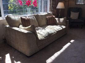 Nearly new comfy 3 seater settee buff/gold