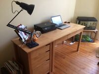 John Lewis Beechwood Desk and Drawers- Excellent Condition