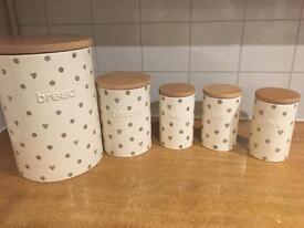 Next Kitchen Storage Jars Bread Tea Milk Coffee Biscuits /cream hearts