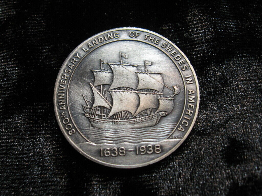 Old Medal Swedish Immigrants To America Whitehead Hoag 1938 Anniversary Ship 371 - $2.99