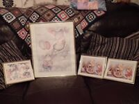 4 nursery pictures - 1 large with mice & 3 small with teddies, matching gold frames