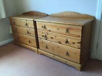 Antique pine bed head ( double). Matching chests of drawers , bedside tables