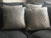 Next Cushions x 4 grey / silver - Geometric