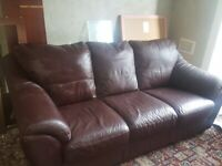 Leather 3 piece suite ,sofa and 2 armchairs