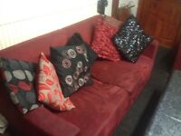 Red suede sofa set for sale